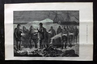 ILN 1880 Antique Print. A Funeral in the Arctic Regions. Nordenskiold